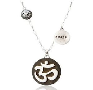 "Long-link Thin Necklace with Movable ""Ohm"" Pendant, Bali Bead and ""Grace""charm 30 Inch"