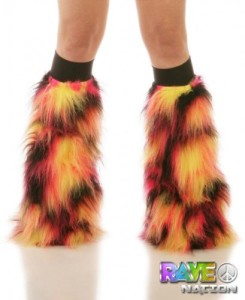 Eclipse Fluffy Leg Warmers with Black Kneebands - Rave Costume Fluffies