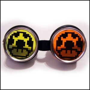 Cyber Goggles Rave Accessory- Mario Mushroom with Orange and Yellow Lenses