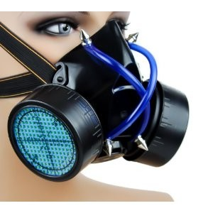Blue UV Cyber Punk Gas Mask Dual Respirator