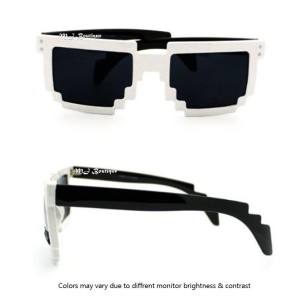 Pixel White & Black Sunglasses Video Game