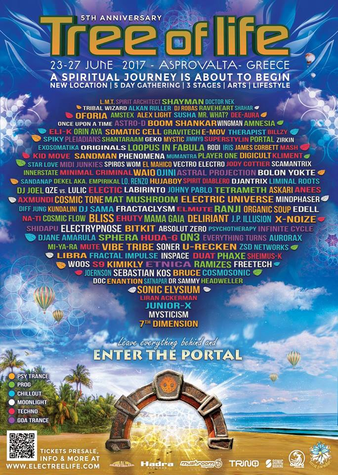 Tree of Life Festival line up playlist Tree of Life Festival is happening this summer on a magical beach in Greece. Learn more about Tree of Life Festival here. We have below a playlist for you where you can taste some of the festival line up. Enjoy !!! Tree of LIfe Festival 2017 line up